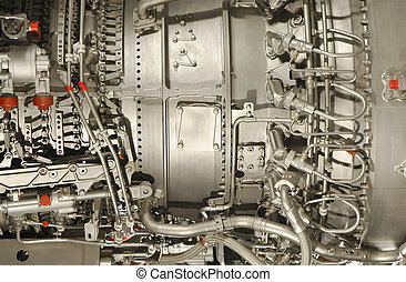 jet engine  - detail close-up of a complex jet engine