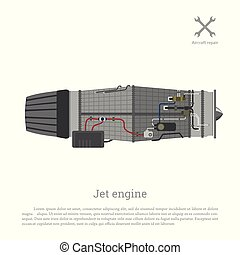 Jet engine in a flat style. Part of the aircraft