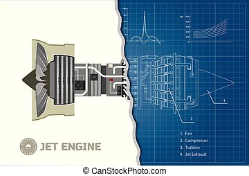 Jet engine in outline style. Industrial blueprint