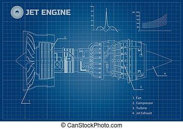 Jet engine. Industrial vector blueprint