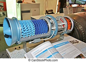 Jet engine model - A model of a gas turbine engine showing...