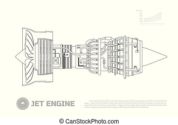 Jet engine of aircraft. Part of the airplane