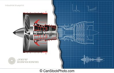Jet engine of airplane in outline style. Industrial aerospase blueprint. 3d drawing of plane motor. Part of aircraft. Side view. Vector illustration