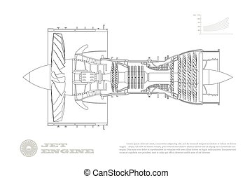 Jet engine of airplane in outline style. Industrial aerospase blueprint. Drawing of plane motor. Part of aircraft. Isolated image. Side view. Vector illustration