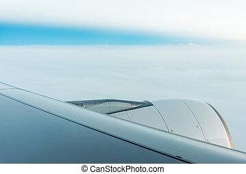jet engine on Plane wing