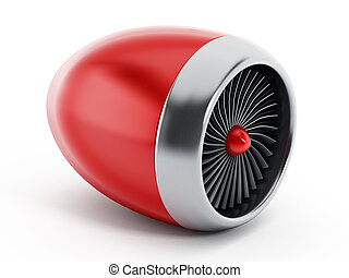Jet engine - Red jet engine isolated on white background.
