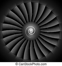 Jet engine turbine blades illustration