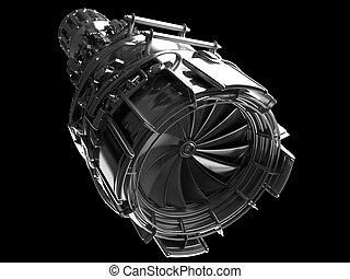 Jet engine turbine blades of plane, aircraft concept,...