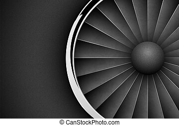 Jet Engine Turbine dark horizontal background. Detailed Airplane Motor with chrome metal ring Front View. Vector illustration aircraft turbo Fan of plane, machinery power.