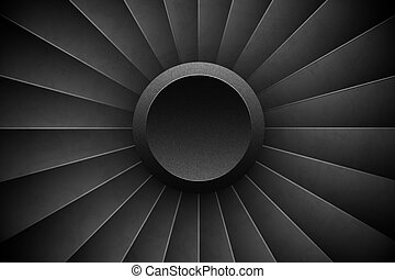 Jet Engine Turbine horizontal background. Detailed Airplane Motor Front View. Vector illustration aircraft turbo Fan of plane, machinery power.