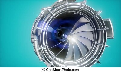 jet engine turbine parts rotate