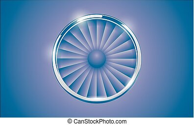 Jet Engine Turbine with chrome ring in retro violet blue color style. Detailed Airplane Motor Front View. Vector illustration aircraft turbo Fan of plane, machinery power icon symbol