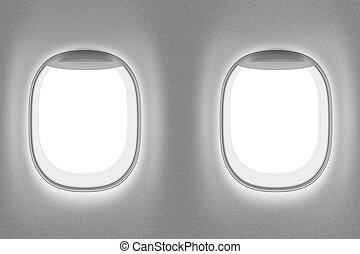 jet, fenetres, deux, intérieur, avion, ou