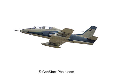 Jet fight airplane flying isolated - Military jet fight...