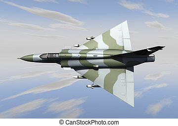 Jet fighter - A jet fighter armed with missiles