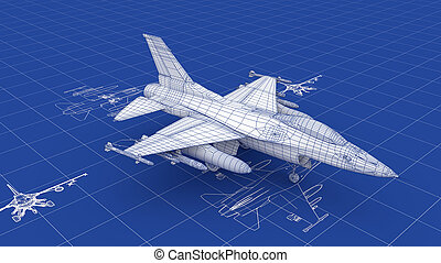 Jet Fighter Aircraft Blueprint. Part of a series.