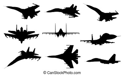 Jet fighter - Different silhouettes of jet fighter
