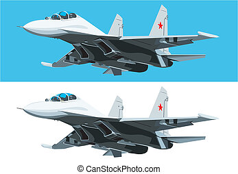 Jet fighter - Vector isolated jet fighter on white and blue...