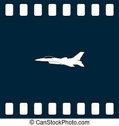 Jet fighter icon. Vector airplane silhouette isolated on white background.