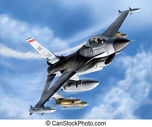 Jet Fighter On The Sky Blue Background