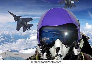 Jet fighter pilot cockpit view