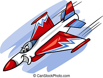 jet fighter plane cartoon illustration - Cartoon...