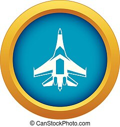 Jet fighter plane icon blue vector isolated