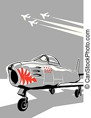 jet fighter ready for take off. vector drawing for...