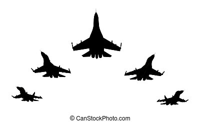 3d render of flyng jet fighters silhouettes on white background
