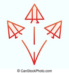 Jet fighters flat icon. Three army planes vector illustration isolated on white. Airplanes in sky gradient style design, designed for web and app. Eps 10.