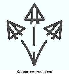 Jet fighters line icon. Three army planes vector illustration isolated on white. Airplanes in sky outline style design, designed for web and app. Eps 10.