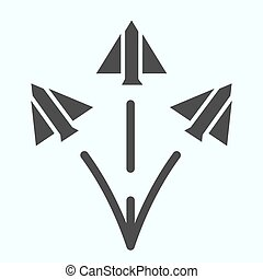Jet fighters solid icon. Three army planes vector illustration isolated on white. Airplanes in sky glyph style design, designed for web and app. Eps 10.