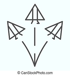Jet fighters thin line icon. Three army planes vector illustration isolated on white. Airplanes in sky outline style design, designed for web and app. Eps 10.
