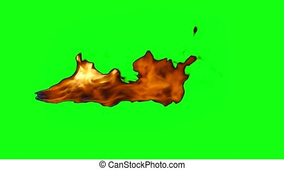 Jet flame with chroma key - Hot jet flame on green screen