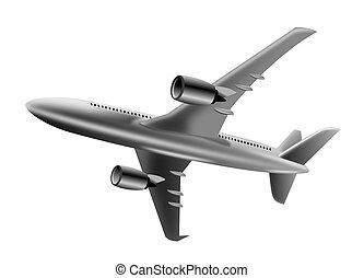 jet flyvemaskine, ind, fulde, fly