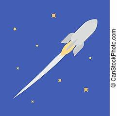 jet, fusée, illustration espace, vecteur, ouvert
