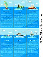 jet, illustration, vecteur, affiches, ski, planche voile