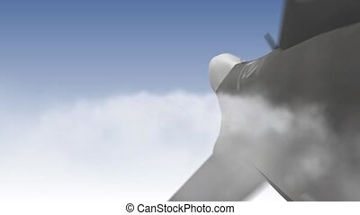 Jet in the clouds - Beautiful 3d animation of a Jet fly and...
