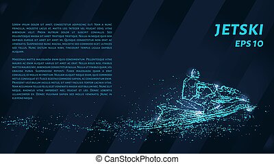 Jet is composed of pixels. Particles in the form of a jetski on a dark background. Vector illustration.
