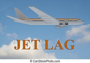 Jet Lag concept - Render illustration of Jet Lag title on...