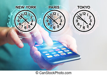 Jet lag concept with different hour time over a smartphone