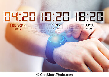 Jet lag concept with different hour time over a smartwatch -...