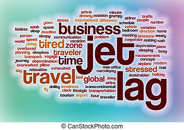 Jet lag word cloud with abstract background