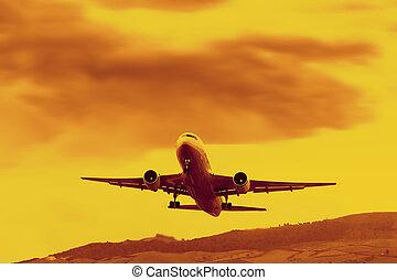 Jet Liner Takeoff In Sunset Light