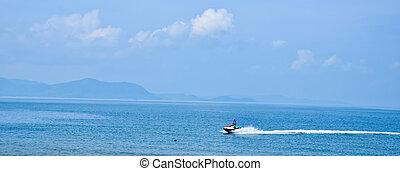 jet, mer, équitation, thaïlande, ski, homme