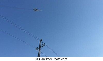 jet military plane  flies over