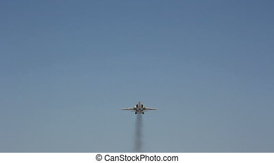 jet military plane flies overhead close. HD H.264
