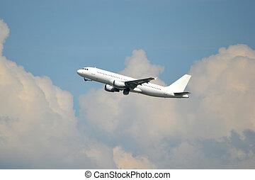 jet passeggero, aereo, -, volare