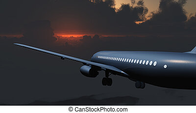 Jet Passenger Aircraft between clouds and gloomy sky