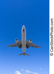 Jet passenger airplane landing